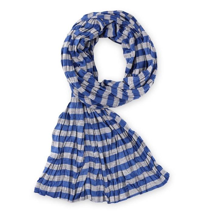 1c9dfe1abe4 Echarpe rayée marinière bleu et gris bleu Allee Du Foulard
