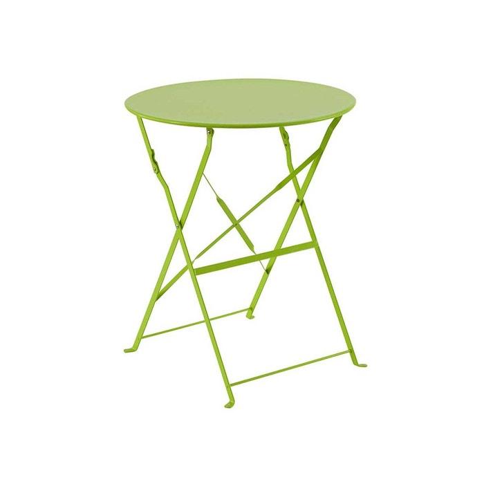 Table de jardin ronde camargue ø 60 cm vert couleur unique Hesperide ...