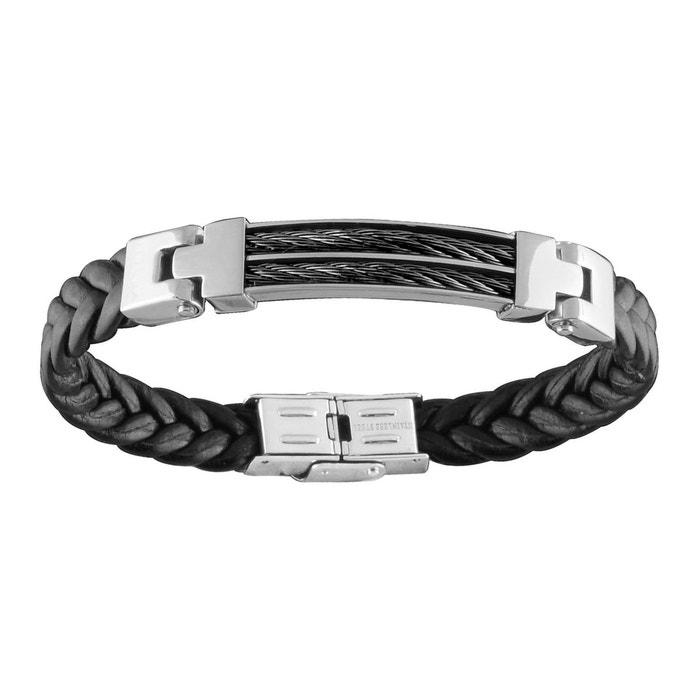 Bracelet homme 21 cm plaque 2 câbles cuir tressé noir acier inoxydable couleur unique So Chic Bijoux   La Redoute offres Date De Sortie De Vente Vente D'usine hrF2caSIk