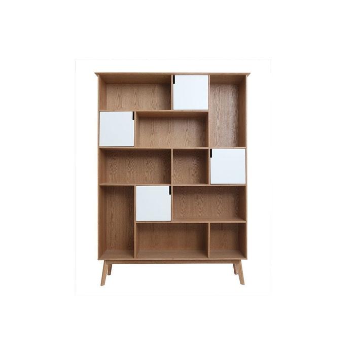 Bibliothèque design avec portes blanc et chêne ingrid chêne clair Miliboo    La Redoute 47b690321b94