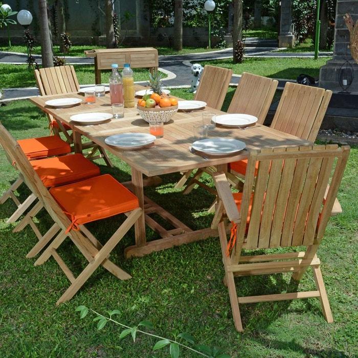 Salon de jardin en teck qualité Ecograde Pampelone, 8/10 places
