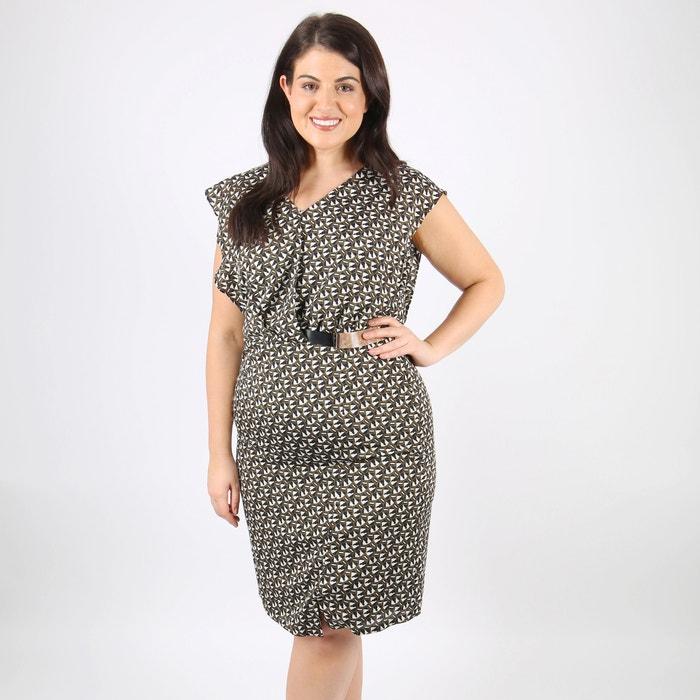 Graphic Print Dress with Half Belt  LOVEDROBE image 0
