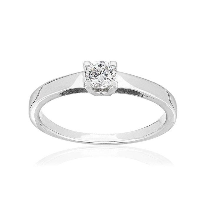 bague or blanc diamant synthetique