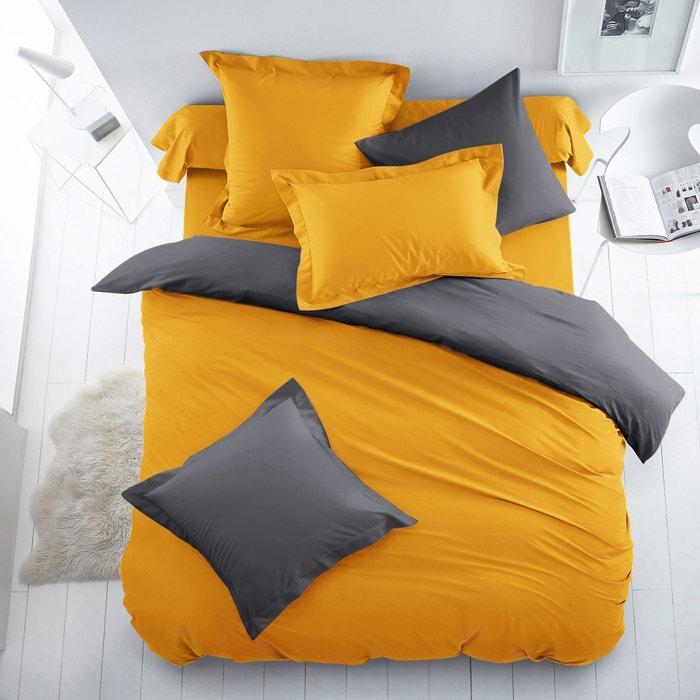 Housse de couette bicolore coton polyester scenario la for Housse de couette noir et jaune