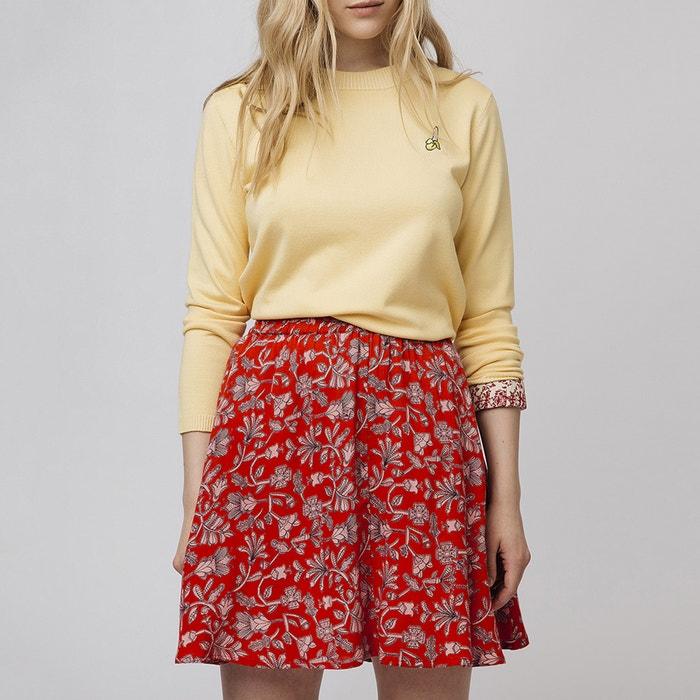 Falda corta evasé con estampado de flores rojo Compania Fantastica ... ce26e029f47e