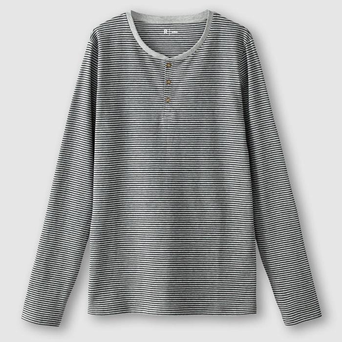 Image T-shirt z dekoltem z rozcięciem w paski, długi rękaw R édition
