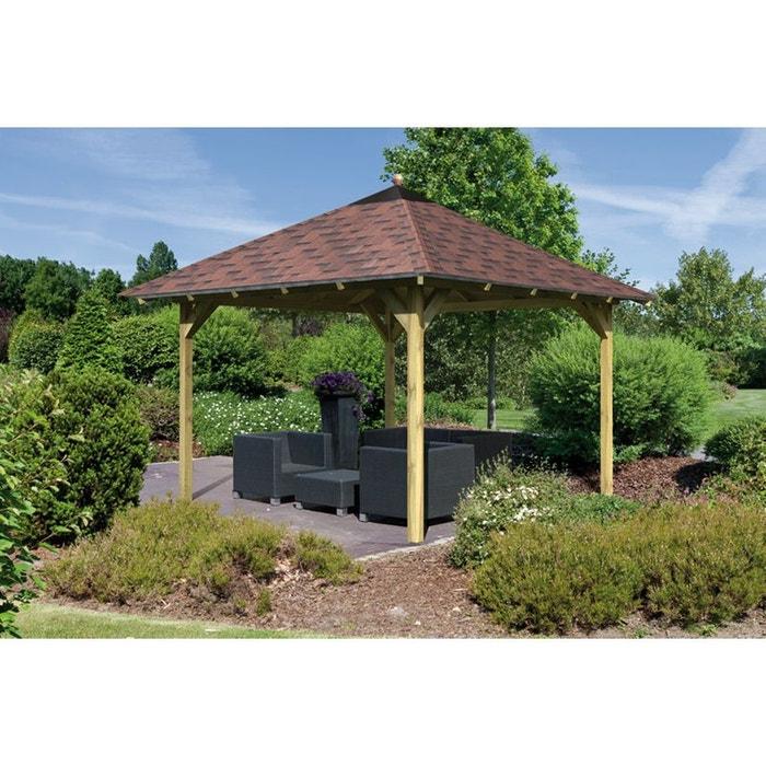 Pavillon de jardin bois trait 314x314 cm granada couleur for Pavillon jardin bois