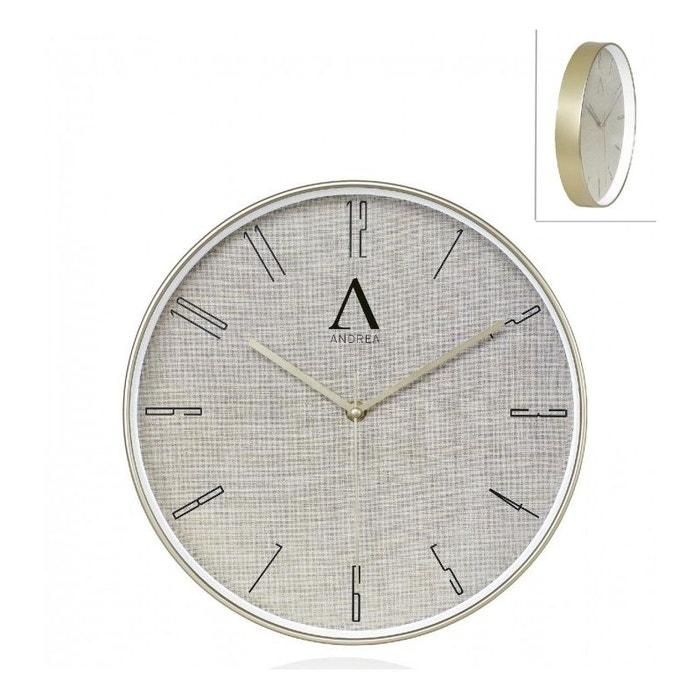Horloge murale ronde dor e diam chrome inox wadiga la redoute for Horloge murale inox