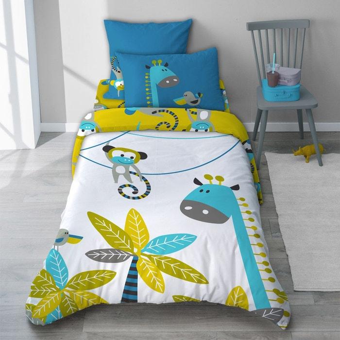 taie d 39 oreiller singe bleu turquoise pour enfant en coton. Black Bedroom Furniture Sets. Home Design Ideas