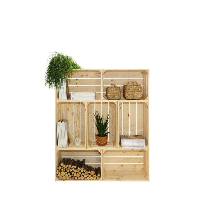 biblioth que en bois modulable et volutive 7 niches beige clair simply a box la redoute. Black Bedroom Furniture Sets. Home Design Ideas