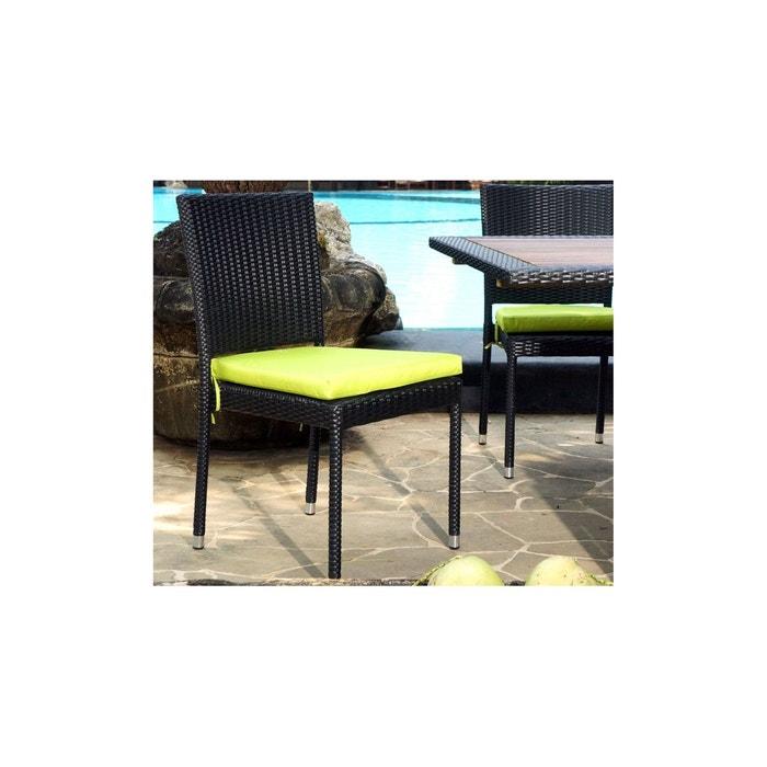 chaise en r sine tress e pour jardin et int rieur noir wood en stock la redoute. Black Bedroom Furniture Sets. Home Design Ideas