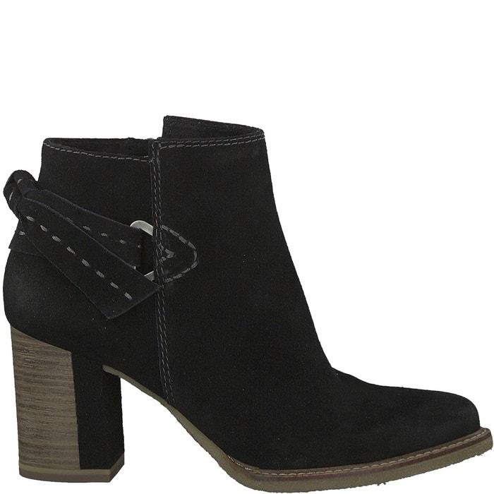 boots cuir rhea noir tamaris la redoute. Black Bedroom Furniture Sets. Home Design Ideas