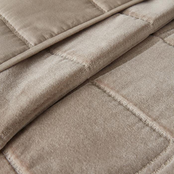 couvre lit padoue matelass velours taupe la redoute interieurs la redoute. Black Bedroom Furniture Sets. Home Design Ideas