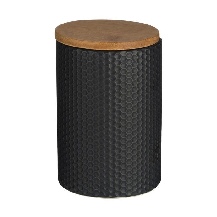 Bamboo Lid Dolomite Matt Black Hex Canister