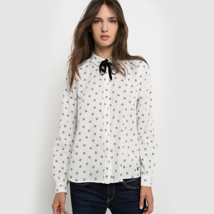 bluse bedruckt kragen mit schleife ecru pepe jeans la. Black Bedroom Furniture Sets. Home Design Ideas
