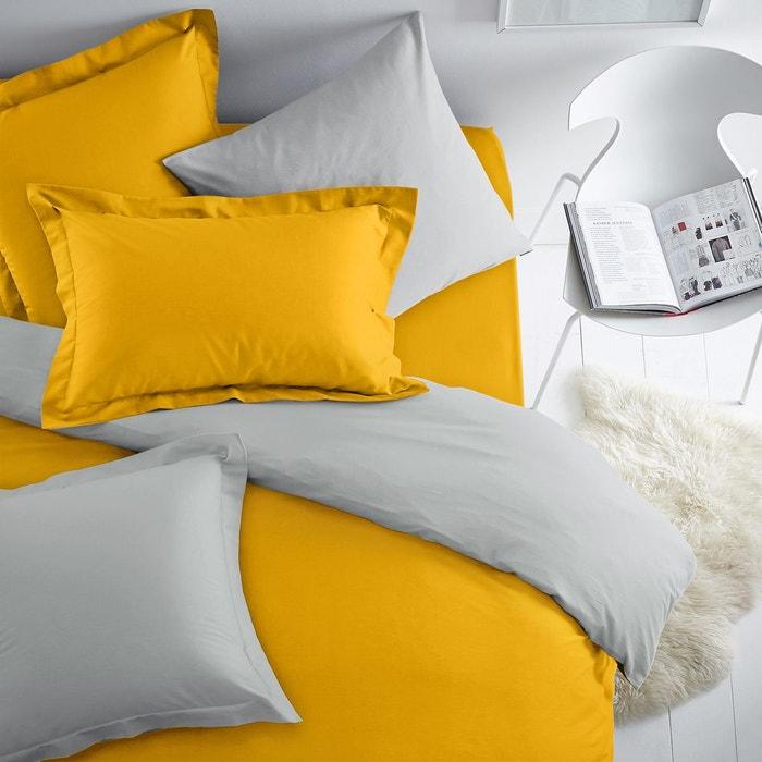 taie d 39 oreiller bicolore coton jaune soleil gris perle scenario la redoute. Black Bedroom Furniture Sets. Home Design Ideas