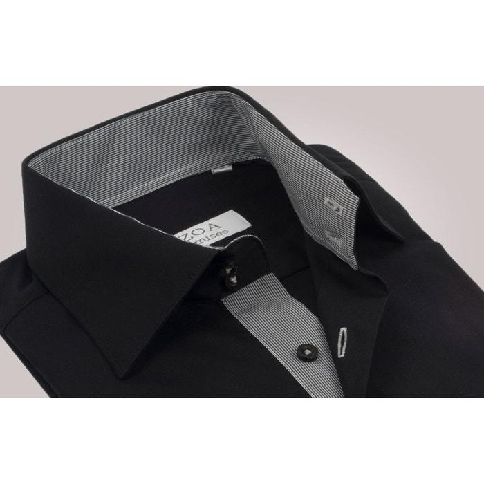 chemise homme noir int rieur rayures blanches et noires poignets napolitains chemise non. Black Bedroom Furniture Sets. Home Design Ideas