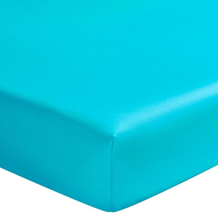 drap housse satin de coton uni lagune lagune essix la redoute. Black Bedroom Furniture Sets. Home Design Ideas
