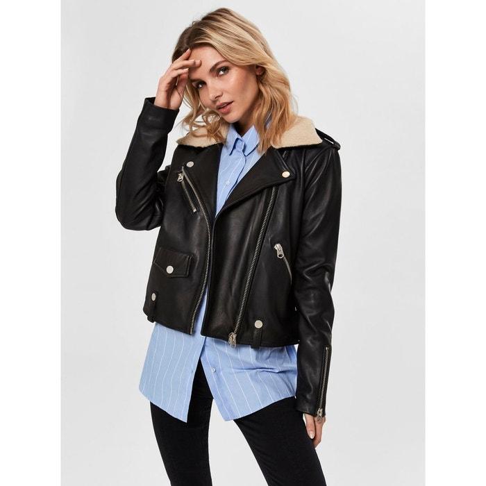 Veste en cuir peluche - black Selected Femme   La Redoute 67b1389229cc