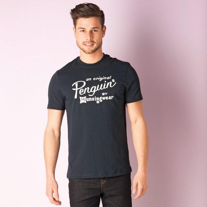 T shirt flocked logo printed pour hommes bleu marine original penguin la redoute - T shirt original homme ...