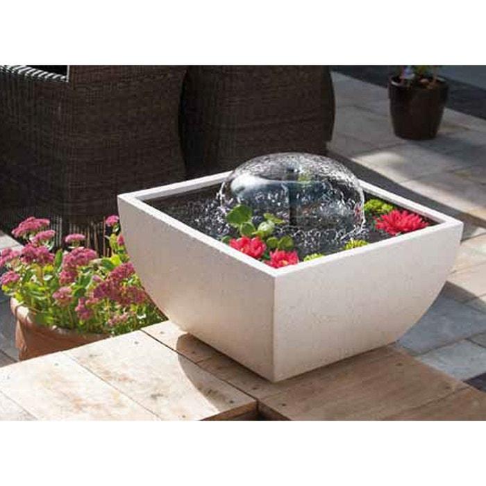 Fontaine de jardin rectangulaire blanche couleur unique for Pierre blanche pour deco jardin