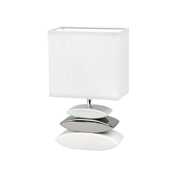 Lampe Galet Liner Blanche Et Argentee En Ceramique Blanc Keria La