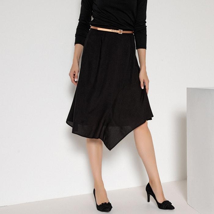 05a96ead4c Asymmetric midi skirt , black, Anne Weyburn | La Redoute