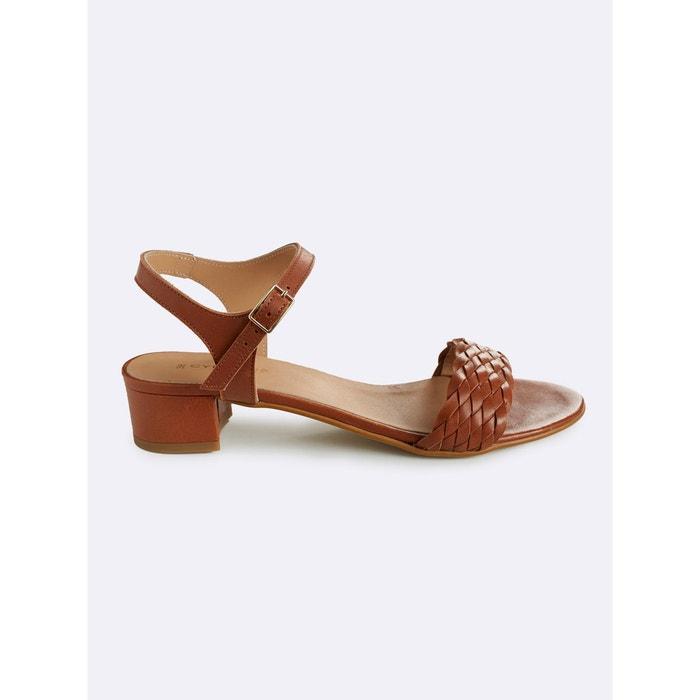 Sandales cuir femme tressées marron clair Cyrillus