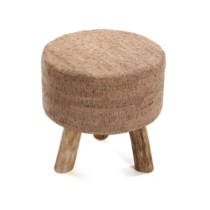 tabouret pouf bas rond tissu imprim li ge et pieds bois. Black Bedroom Furniture Sets. Home Design Ideas