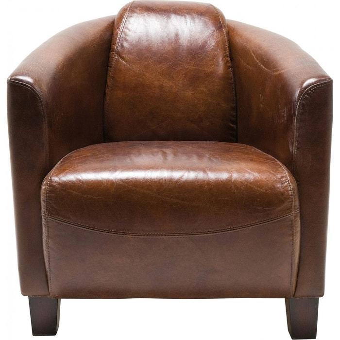 fauteuil cuir vintage semi cigar lounge kare design kare design la redoute. Black Bedroom Furniture Sets. Home Design Ideas