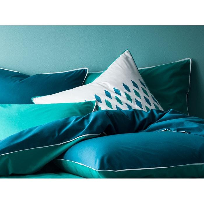 taie d 39 oreiller carr percale 80 fils imprim g ographique passepoil plat meraude canard. Black Bedroom Furniture Sets. Home Design Ideas