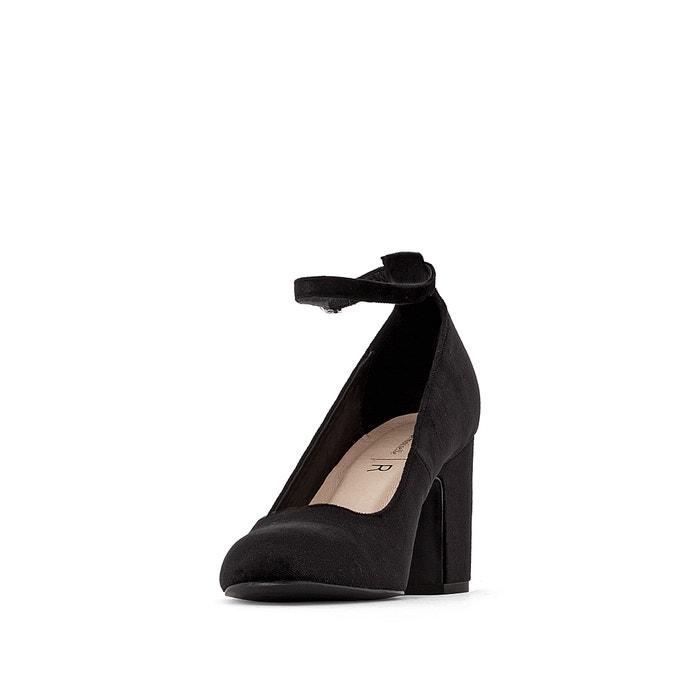 0dec0a60 Zapatos de tacón tipo babies de terciopelo con tacones y bisutería de  flores negro LA REDOUTE COLLECTIONS