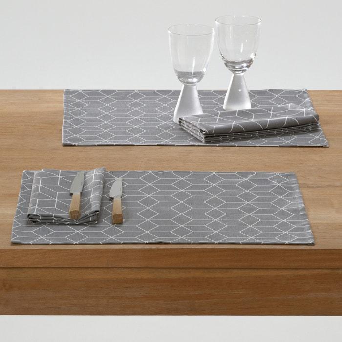 Imagen de Conjunto de mesa estampado de polialgodón, Diamond (lote de 2) La Redoute Interieurs