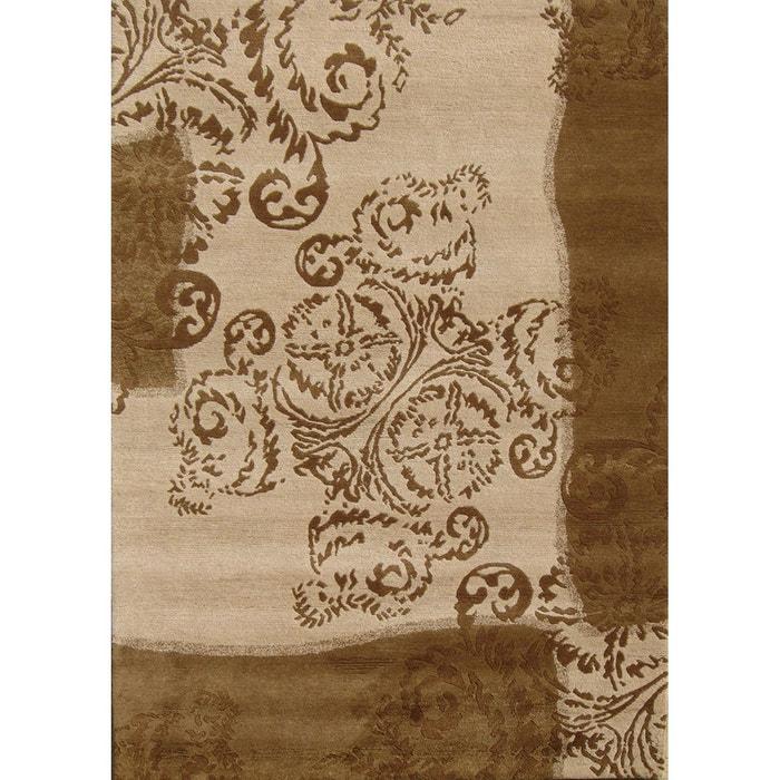 Tapis salon tapis unique en laine original nepal marron for Tapis salon original