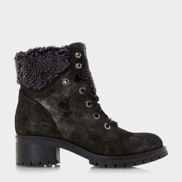 Bottines à lacets et doublure chaude - rochelle gris cuir Dune London