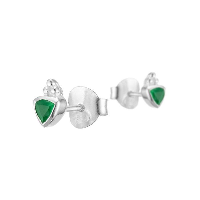 """925 Silver Overlay Triangle Vert Onyx Style Vintage Boucles D/'oreilles 1.6/"""" boutique en ligne"""