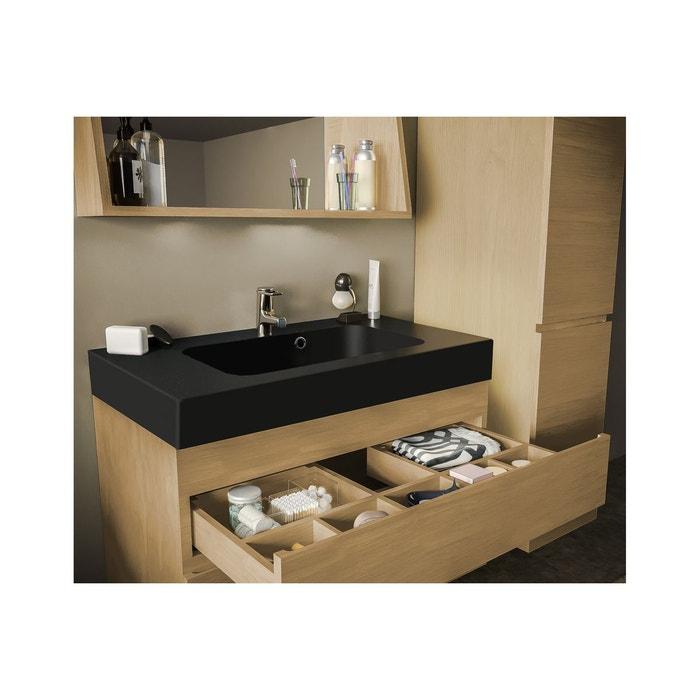 Meuble de salle de bain bois massif et sa vasque noir mat - 80 cm ...