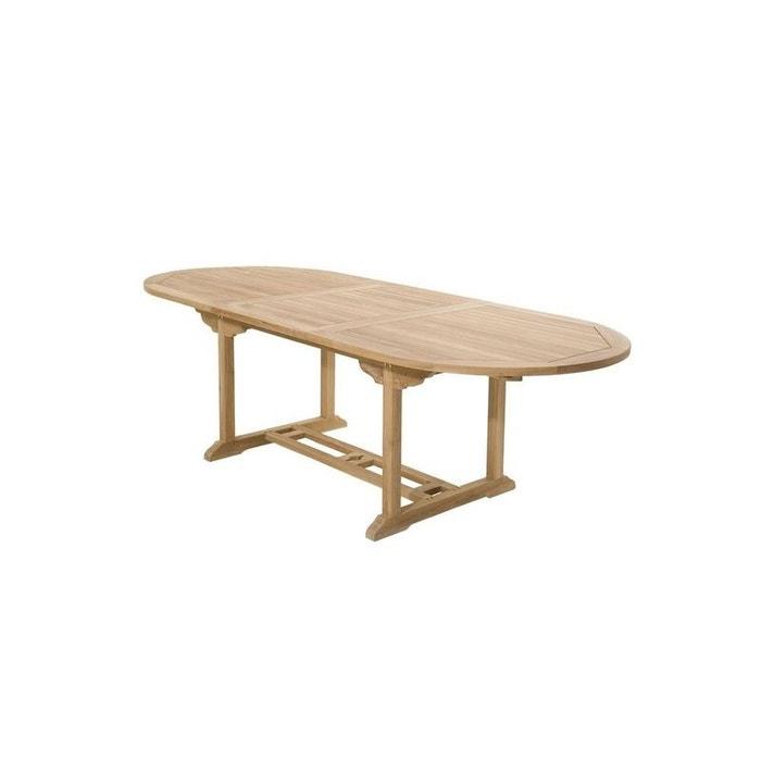 Table de jardin en teck ovale extensible 180/240x100cm summer table ...