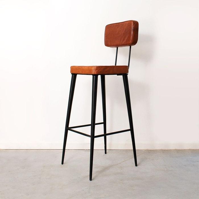 tabouret de bar industriel cuir roux et m tal mim160. Black Bedroom Furniture Sets. Home Design Ideas