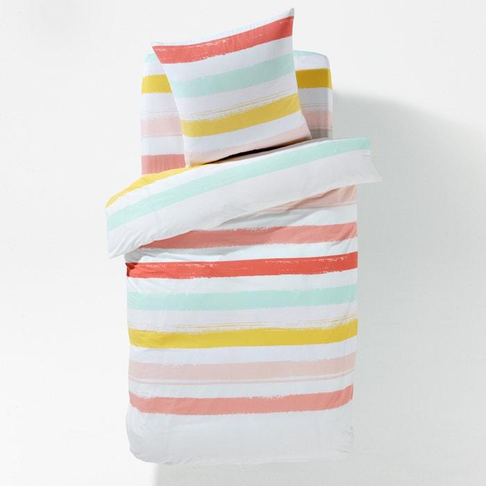 housse de couette enfant rayure brush fille rose vert jaune la redoute interieurs la redoute. Black Bedroom Furniture Sets. Home Design Ideas