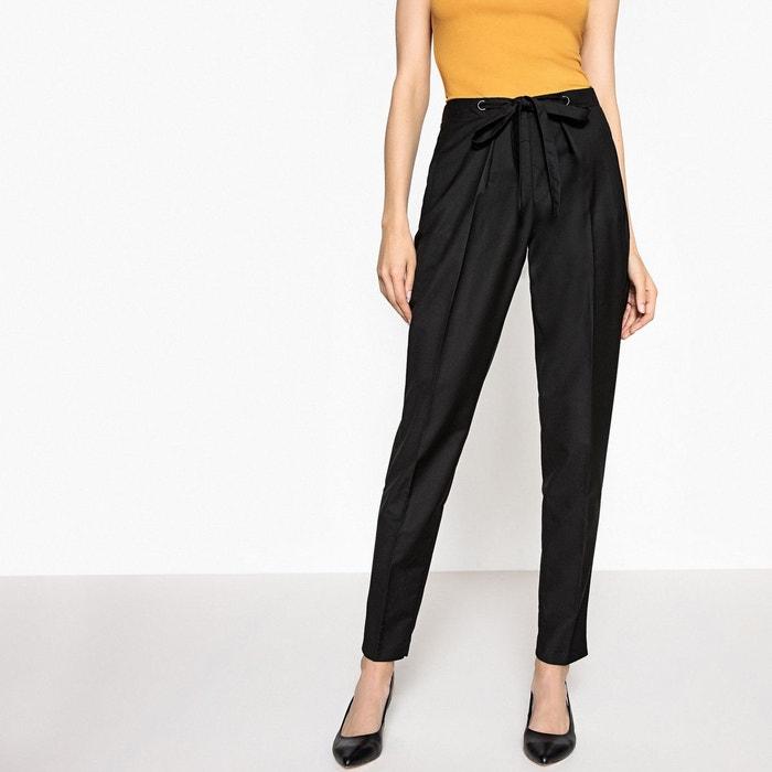 Pantalon loose lien à nouer noir La Redoute Collections  77ea40247f0