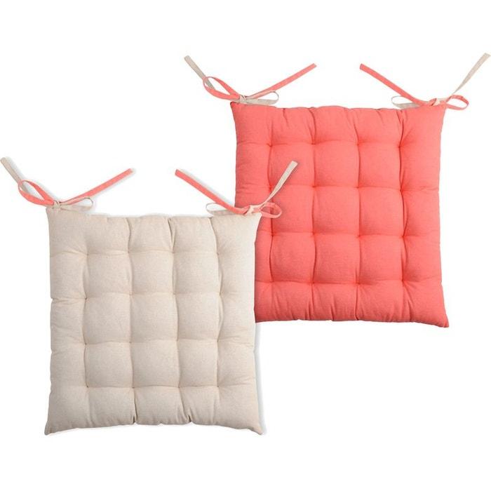 coussin de chaise reversible lin et corail 40 cm couleur unique storex la redoute. Black Bedroom Furniture Sets. Home Design Ideas