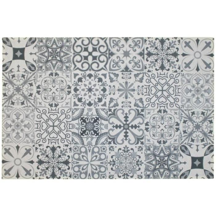 Tapis de cuisine mosaique gris imprimé Natacha B | La Redoute