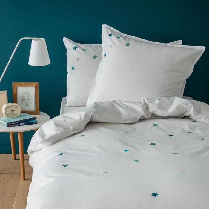 housse de couette enfant imprim e etoiles 100 coton bleu et vert blanc bleu blanc cerise. Black Bedroom Furniture Sets. Home Design Ideas