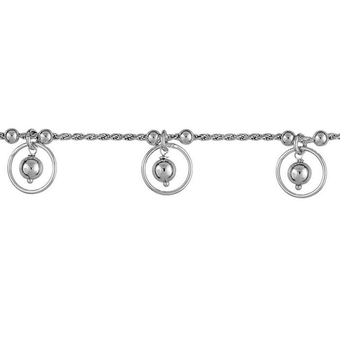 Bracelet 19 cm chaîne corde pampilles cercles boules argent 925 couleur unique So Chic Bijoux | La Redoute Meilleure Vente Pas Cher De La France À Vendre Lbd4toI