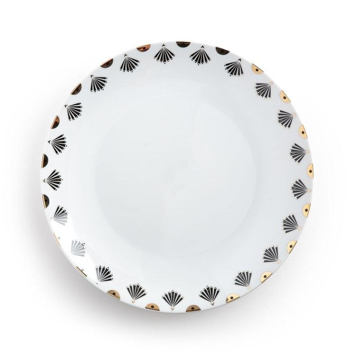 lot 4 assiettes plates mellah blanc imprim la redoute interieurs la redoute. Black Bedroom Furniture Sets. Home Design Ideas