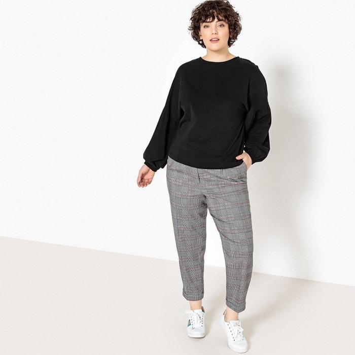 450674ead Velour tie-back t-shirt , black, Castaluna Plus Size | La Redoute