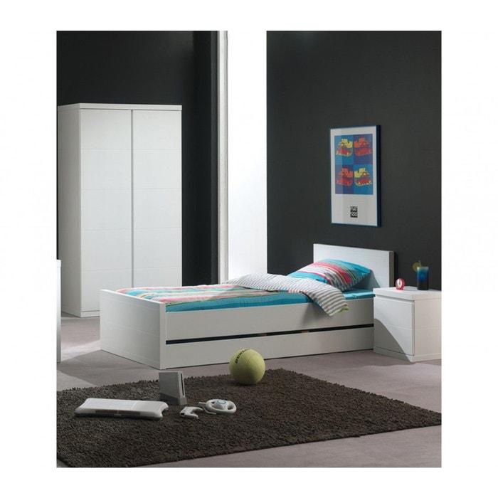 Chambre enfant 90×200 blanc laqué cb2007 blanc Terre De