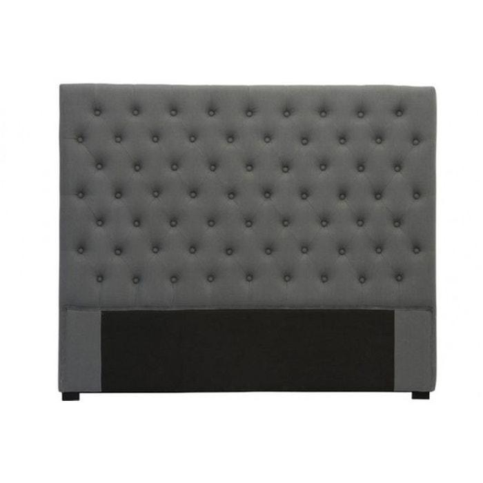 t te de lit capitonn e en lin anthracite 140 cm gris declikdeco la redoute. Black Bedroom Furniture Sets. Home Design Ideas