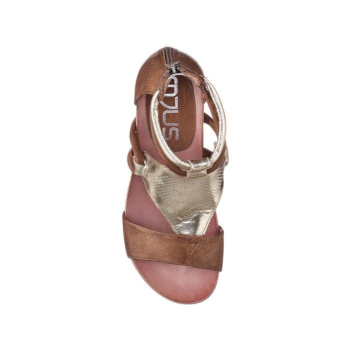 Sandales compensées, cuir, tapas cognac Mjus
